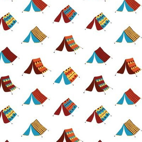 Camping tents on a white background. Teepee tents. Gypsy tent. Boho tents. Glamping tents.