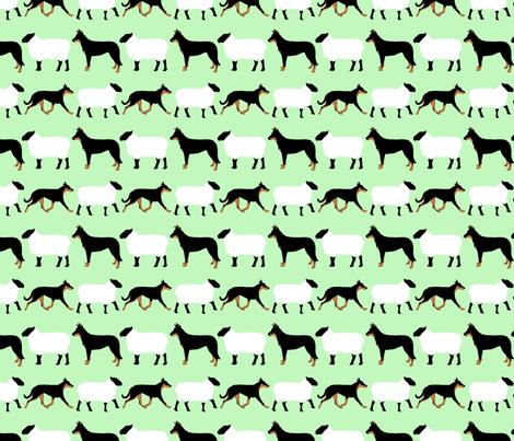 Basic Beaucerons and sheep - mint fabric by rusticcorgi on Spoonflower - custom fabric