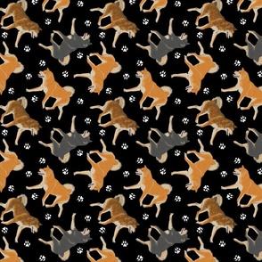 Trotting Shiba Inu and paw prints B - black