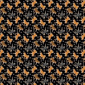 Trotting Shiba Inu and paw prints B - tiny black