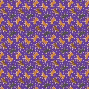 Trotting Shiba Inu and paw prints B - tiny purple