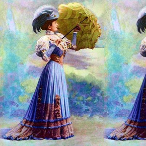 victorian edwardian big feather hats green parasol umbrella blue gown trees beautiful young woman lady 19th 20th century romantic  shabby chic  beauty vintage antique elegant gothic lolita egl
