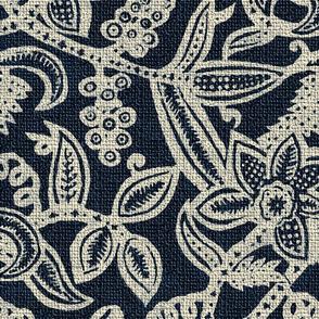 Vintage floral lace Dark blue 300 invert
