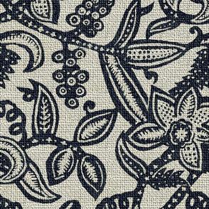 Vintage floral lace Dark blue 300