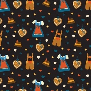 Oktoberfest print. Dirndl dress. Lederhosen. Gingerbread heart. Bavarian hat.