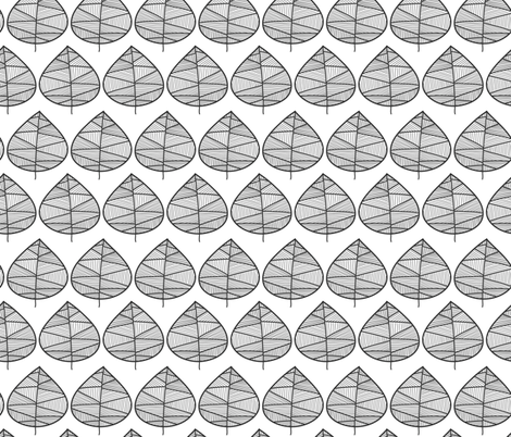 Modern monochrome leaves design fabric by sandra_hutter_designs on Spoonflower - custom fabric