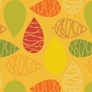 Abstract doodle leaves. Modern fall autumn print.