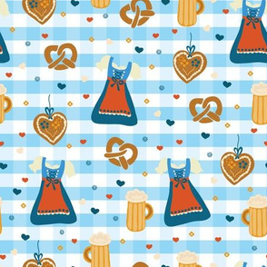 Oktoberfest print. Dirndl dress, beer glasses, pretzels, and gingerbread hearts on a blue and white checkered background.