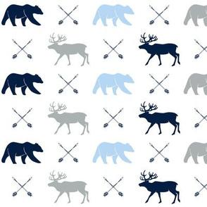 elk, bear, and arrows - navy, blue2, grey