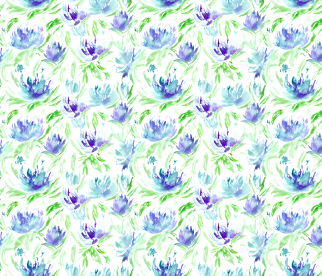 Summer vibes in blue || watercolor floral pattern fabric by katerinaizotova on Spoonflower - custom fabric