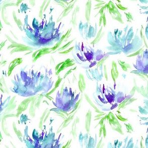 Summer vibes in blue || watercolor floral pattern