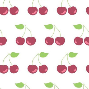 Cherries in a row on a white background. Fruit print. Cherry print.