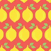 Yellow lemons lined up on red background.