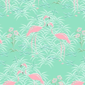 Pink Flamingos on Diamond Palms