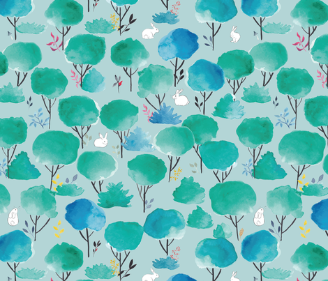 emerald forest with bunnies fabric by meissa on Spoonflower - custom fabric