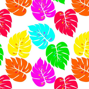 Neon Hawaiian Rainbow Monstera Leaves on White
