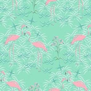 Pink Flamingos on Diamond Palms