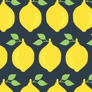 Retro inspired lemons in a row