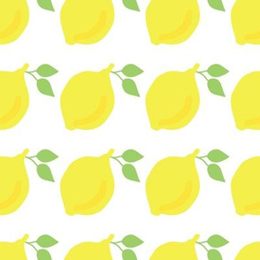 Lemons in a row on a white background.