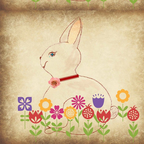 rabbit blooms pillow cover