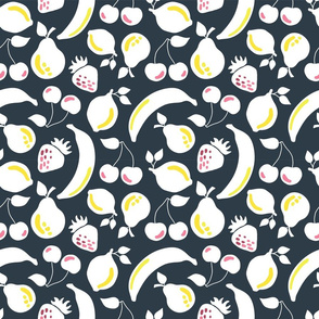 White silhouettes of bananas, strawberries, lemons, pears, and cherries on a black background