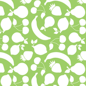 Fruit silhouettes on green background