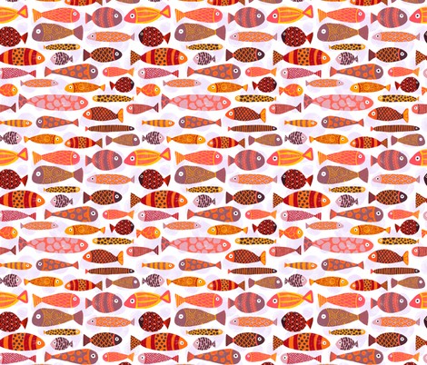 Tropical fishes. Very colorful school of fish.  fabric by sandra_hutter_designs on Spoonflower - custom fabric