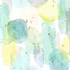 watercolor + stars abstract - teal mint  yellow