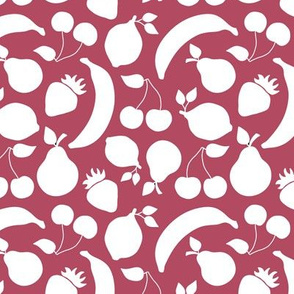 Fruit shapes on cherry red background