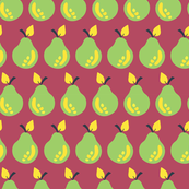 Pears lined up on a cheery red background