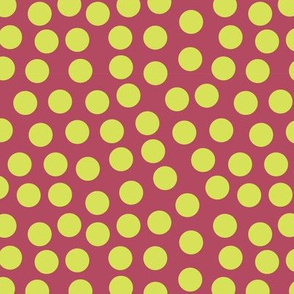 Lime green polka dots on a cherry red background.