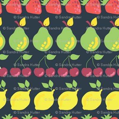 Pears, strawberries, lemons, and cherries in rows