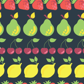 Pears, strawberries, lemons, and cherries in rows