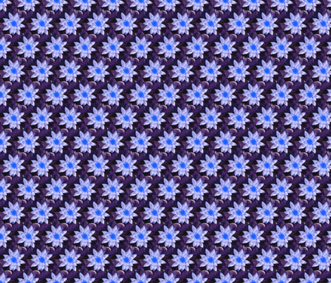 Blue Waterlillies fabric by just_meewowy_design on Spoonflower - custom fabric