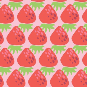 Yummy strawberry print. Strawberries in a row.