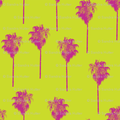 Vintage palm trees pink on lime green