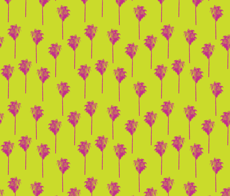 Vintage palm trees pink on lime green fabric by sandra_hutter_designs on Spoonflower - custom fabric