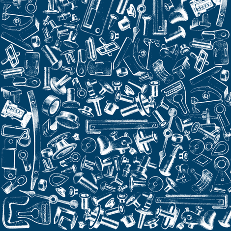 widgets, nuts, and bolts; blue and white fabric by muddyfoot on Spoonflower - custom fabric