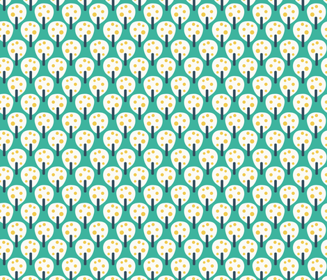 Retro fruit trees white on teal fabric by sandra_hutter_designs on Spoonflower - custom fabric