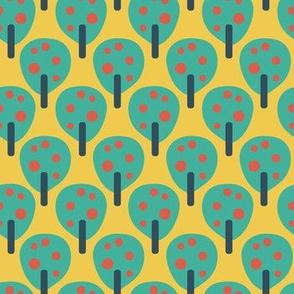 Retro fruit trees teal on yellow