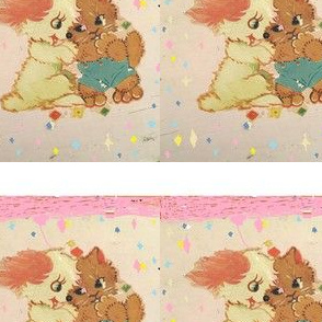 retro kittycat puppy love nursery wallpaper