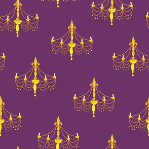 Chandelier silhouettes on a purple background