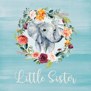 Floral elephant little sister lovey 18x18""