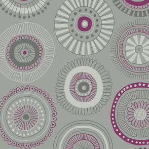 Grey Floral Circles