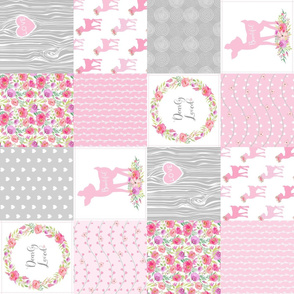 Woodland Floral Wholecloth – Dearly Loved – Pink Fawn Baby Girl Quilt Patchwork  (rotated)