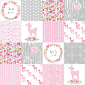 Woodland Floral Wholecloth – Dearly Loved – Pink Fawn Baby Girl Quilt Patchwork