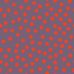 Red polka dots on a purple background randomly placed
