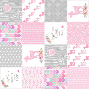 Baby Deer Wholecloth – I Love You a Bushel and a Peck – Pink Fawn Quilt Patchwork  (rotated)