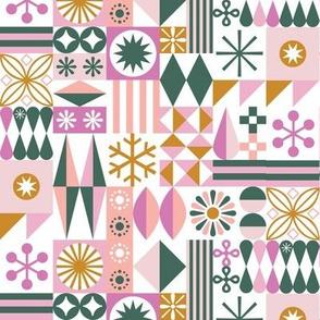 Santa's Workshop* (Green & Pinks) || geometric star stars starburst snowflake snowflakes grid  stripes  christmas holiday