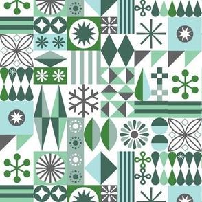 Santa's Workshop* (Greens) || geometric star stars starburst snowflake snowflakes grid christmas holiday stripes aqua mint